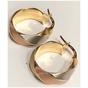 MILOR Italy 14KT Tricolor Round Hoop Earrings